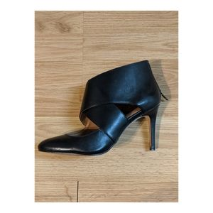 Black Leather Booties/ Pumps with Ankle Wrap Detai